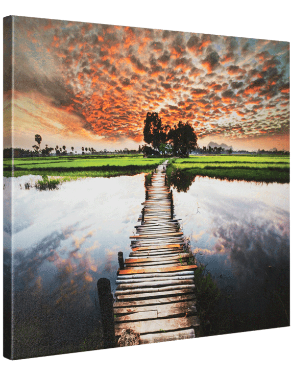 Sunset photograph print on canvas